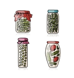Bank of pickled vegetables sketch for your design vector image