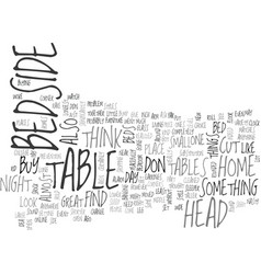 Bedside table text word cloud concept vector