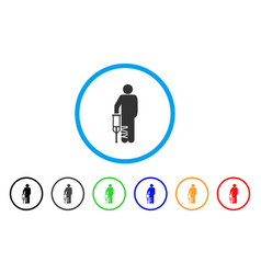 broken leg patient rounded icon vector image