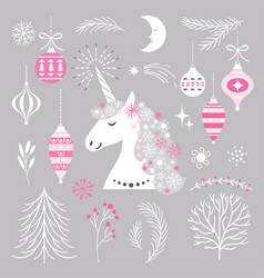 christmas set with unicorn and design elements vector image