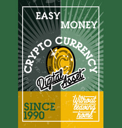 Color vintage cryptocurrency banner vector