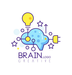 Colorful line art logo design with cloud light vector