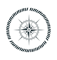 Compass maritime emblem icon vector
