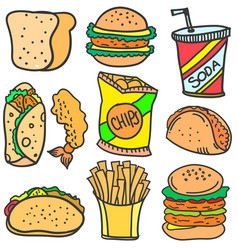 Doodle of food set various vector
