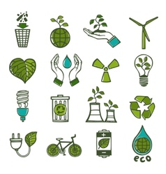Ecology and waste icons set color vector image