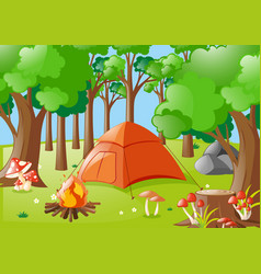 Forest scene with campfire and tent vector