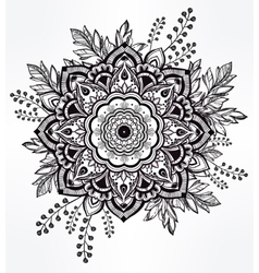 Hand drawn ornate flower in the crown of leaves vector