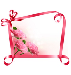 Holiday background Colorful flowers with pink bow vector image