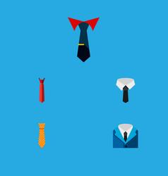 icon flat necktie set of tie shirt cravat and vector image