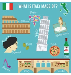 Italy travel set famous places and symbols of vector