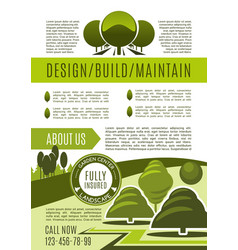 landscaping and gardening business poster vector image vector image