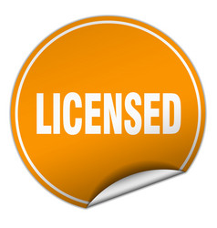 Licensed round orange sticker isolated on white vector