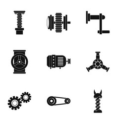 mechanical gear icon set simple style vector image vector image