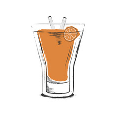Orange cocktail hand drawn in sketch retro style vector