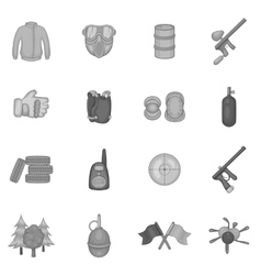 Paintball icons set black monochrome style vector