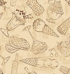 Retro sketch seamless pattern of ice cream vector