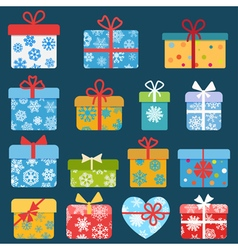 Set of different colorful christmas gift boxes vector image