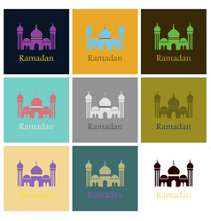 Set of icons in flat style ramadan mosque vector
