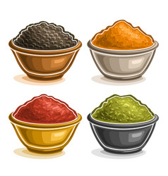 Set of indian spices in bowls vector