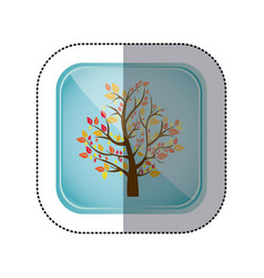 sticker colorful square frame and blue background vector image vector image