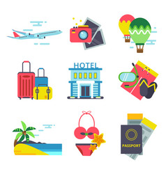 travel time icon set in flat style signs vector image vector image