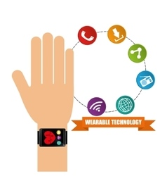 Wearable technology hand watch health app vector