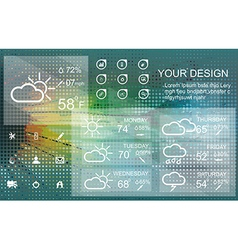 Weather widget and icons on floral background vector image