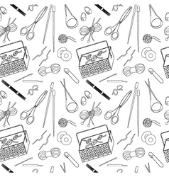 Seamless pattern of tools for knitting icons vector