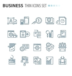 Thin line flat isolated business icons set vector