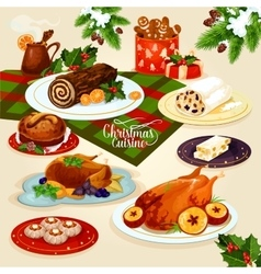 Christmas cuisine dinner for festive menu design vector
