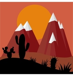 Cactus plants in desert sunset with mountains vector image