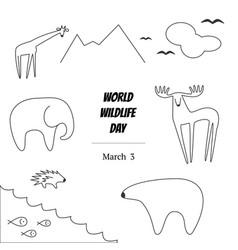 Black and white of world wildlife vector