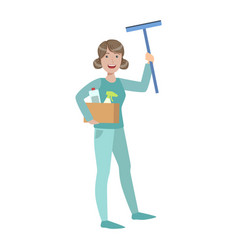 Woman with box of household chemicals and squeegee vector