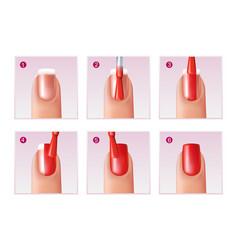 Manicure process set vector