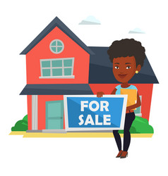 Young african-american realtor offering house vector