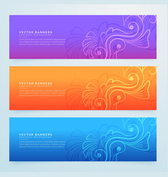 Floral banners set of three in different colors vector