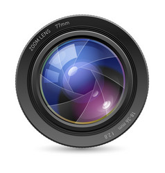 camera icon lens on white background vector image