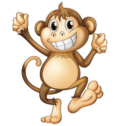 Happy monkey with brown fur vector