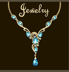 pendant necklace with precious stones and vector image