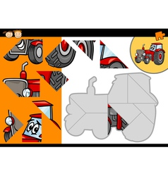 Cartoon tractor jigsaw puzzle game vector