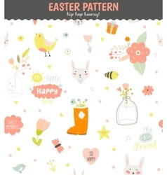 Cute pattern with animals Bunny birds flowers vector image