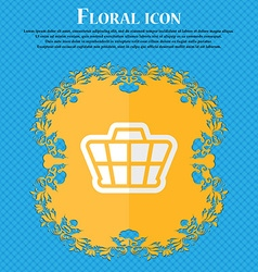 Shopping cart floral flat design on a blue vector