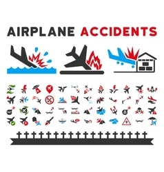 Aviation accidents icons vector