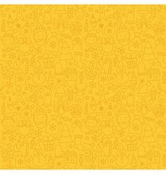 Line art happy new year seamless yellow pattern vector