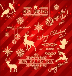 Set of christmas items and new year design element vector