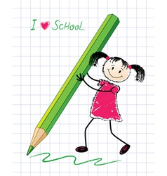 Little girl with a pencil vector