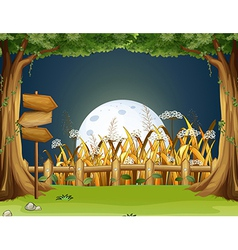 A forest with wooden arrowboards vector image vector image