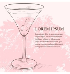 Alcoholic cocktail Rose scetch vector image
