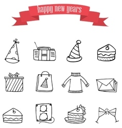 Art of new year element icons vector