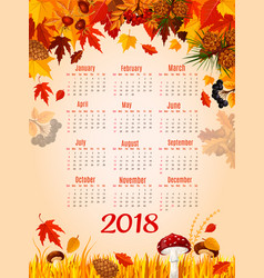 autumn leaf fall 2018 calendar template vector image vector image